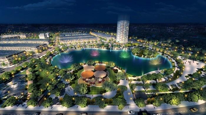 Khu đô thị Vĩnh Yên Center City với tầm nhìn từ hồ.