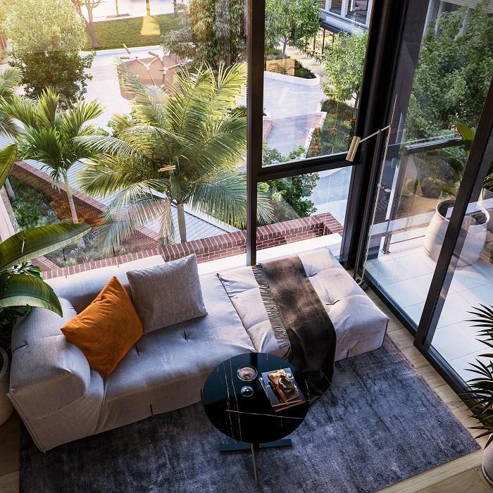 Căn hộ thiết kế cửa kính từ trần đến sàn giúp đón ánh sáng tự nhiên.