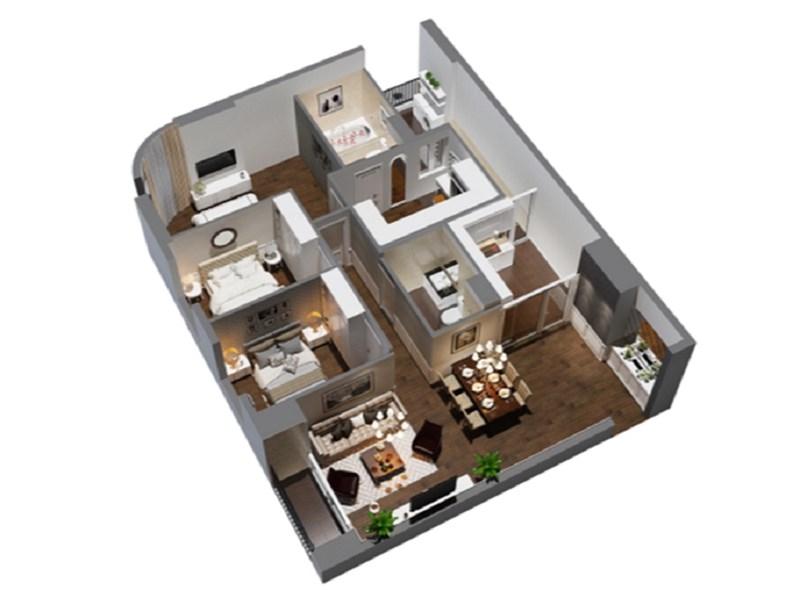 Phối cảnh căn góc 4 phòng ngủ của dự án Imperial Plaza