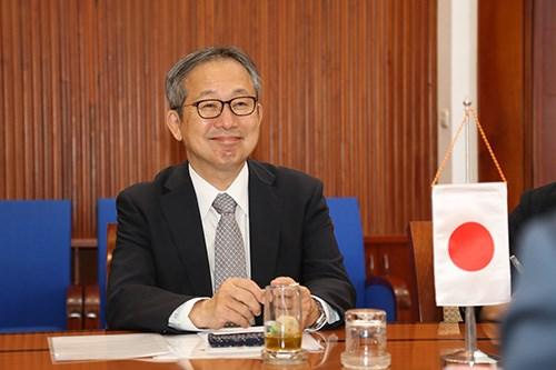 Tân Đại sứ Nhật Bản tại Việt Nam Yamada Takio phát biểu tại buổi tiếp. Nguồn: TBTC