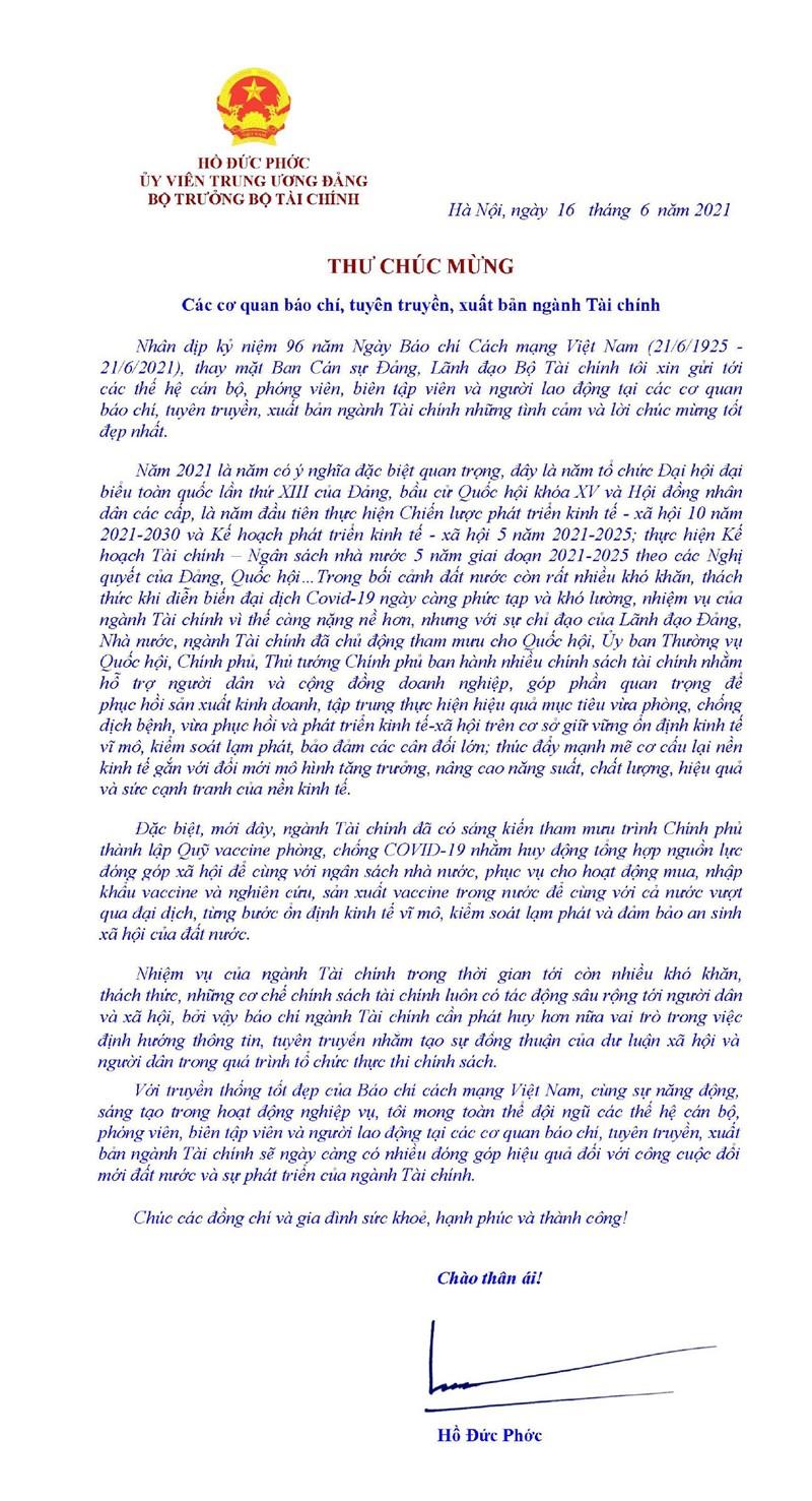 Bộ trưởng Hồ Đức Phớc gửi Thư chúc mừng nhân Ngày Báo chí Cách mạng Việt Nam - Ảnh 1