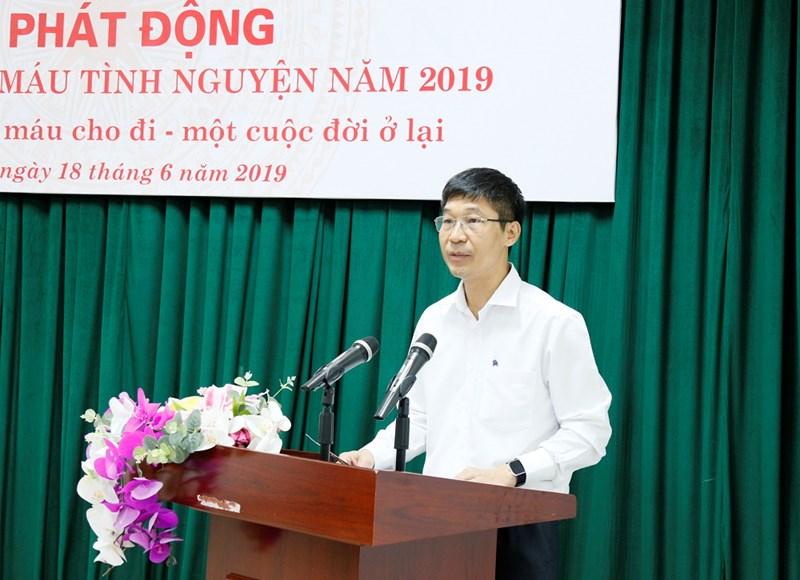 Ông Trần Ngọc Quế - Phó Giám đốc Trung tâm máu Quốc gia phát biểu tại chương trình.