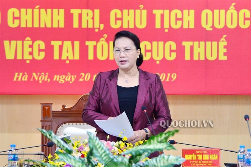 Chủ tịch Quốc hội Nguyễn Thị Kim Ngân phát biểu tại buổi làm việc. Nguồn: quochoi.vn