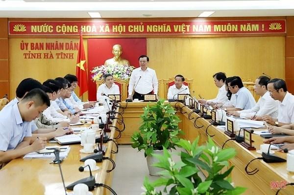 Toàn cảnh buổi làm việc của Bộ trưởng Đinh Tiến Dũng với UBND tỉnh Hà Tĩnh. Nguồn: BHT