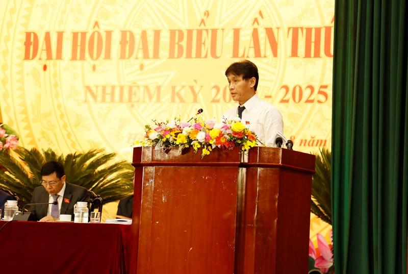 Đồng chí Đặng Ngọc Minh, Phó bí thư Đảng ủy cơ quan Tổng cục Thuế, Phó Tổng cục trưởng Tổng cục Thuế trình bày tham luận tại Đại hội.