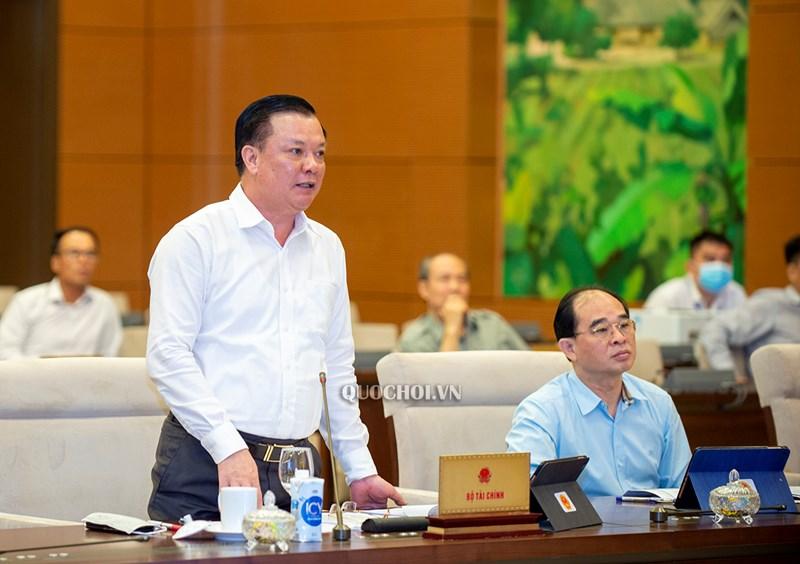 Bộ trưởng Bộ Tài chính Đinh Tiến Dũng trình bày Tờ trình của Chính phủ. Nguồn: QH