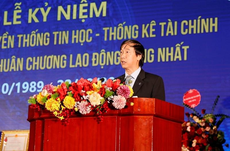 Ông Nguyễn Đại Trí, Cục trưởng Cục Tin học và Thống kê (Bộ Tài chính) phát biểu tại buổi lễ.