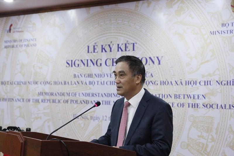 Thứ trưởng Trần Xuân Hà trân trọng cảm ơn Ngài đại sứ và Tài chính Ba Lan đã phối hợp cùng Bộ Tài chính Việt Nam trong xây dựng nội dung cũng như chuẩn bị lễ ký kết văn bản ghi nhớ.