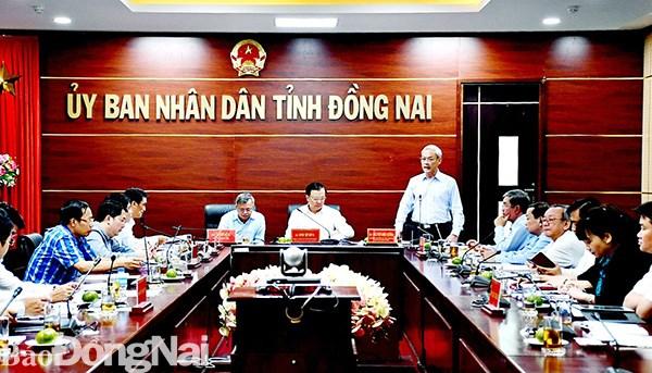 Bí thư Tỉnh ủy Nguyễn Phú Cường phát biểu tại cuộc họp. Nguồn: Báo Đồng Nai
