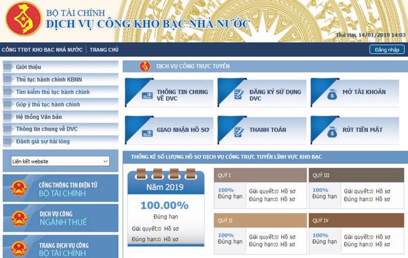 Giao diện Trang Dịch vụ công trực tuyến của Kho bạc Nhà nước.