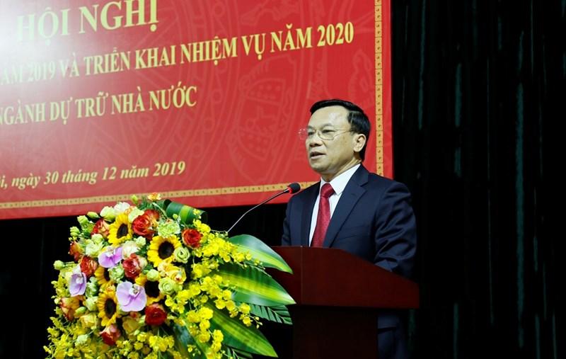 Thứ trưởng Bộ Tài chính Trần Văn Hiếu phát biểu chỉ đạo tại hội nghị tổng kết trực tuyến do Tổng cục Dự trữ Nhà nước tổ chức vào sáng 30/12/2019.