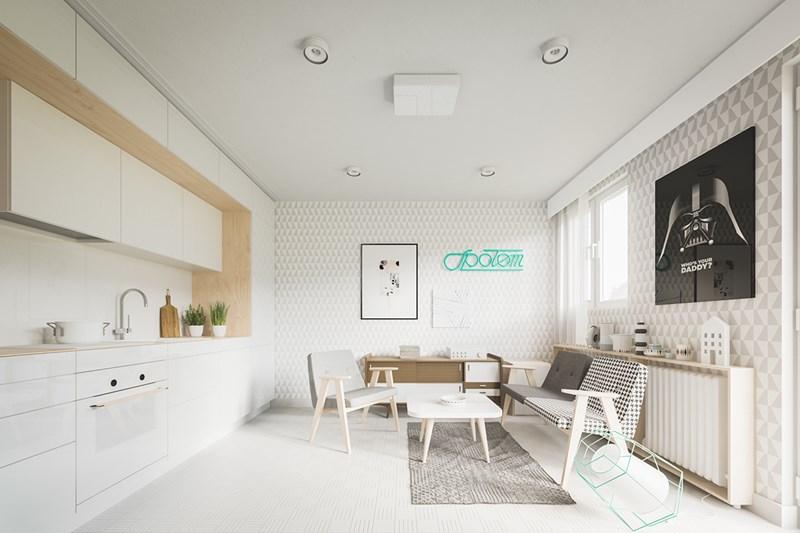 Các nhà thiết kế tài năng Piotr Matuszek và Gosia Czarny đã khiến căn hộ này có một vẻ ngoài tươi sáng và trông rất rộng rãi.