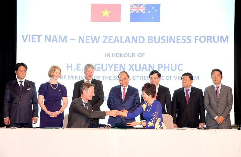 Doanh nghiệp hai nước ký thỏa thuận hợp tác tại diễn đàn. Ảnh: VGP/Quang Hiếu