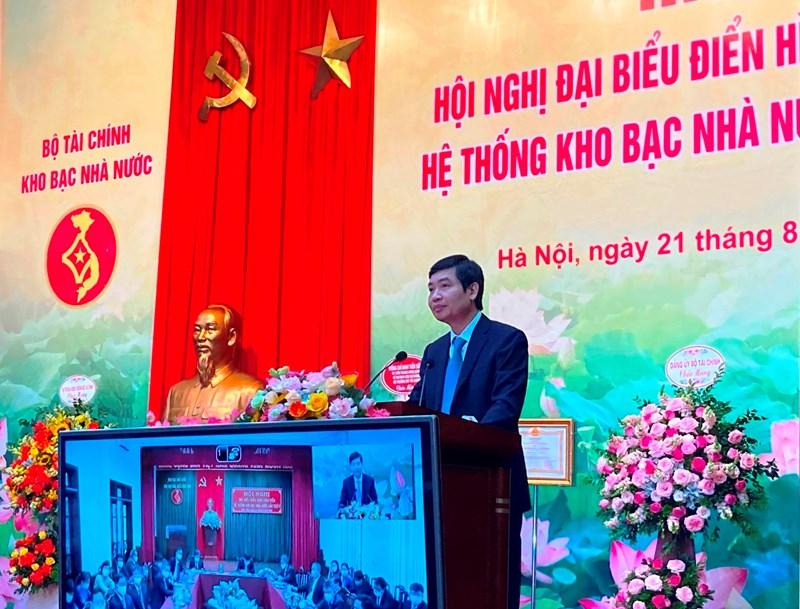 Thứ trưởng Bộ Tài chính Tạ Anh Tuấn phát biểu chỉ đạo tại Hội nghị Đại biểu điển hình tiên tiến hệ thống KBNN lần thứ V (ngày 21/8/2020)