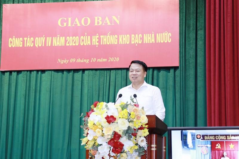 Tổng Giám đốc KBNN Nguyễn Đức Chi phát biểu tại Hội nghị giao ban Công tác quý IV/2020 của hệ thống KBNN