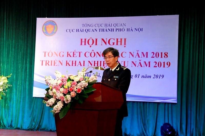 Cục trưởng Cục Hải quan TP. Hà Nội Dương Phú Đông phát biểu tại Hội nghị.