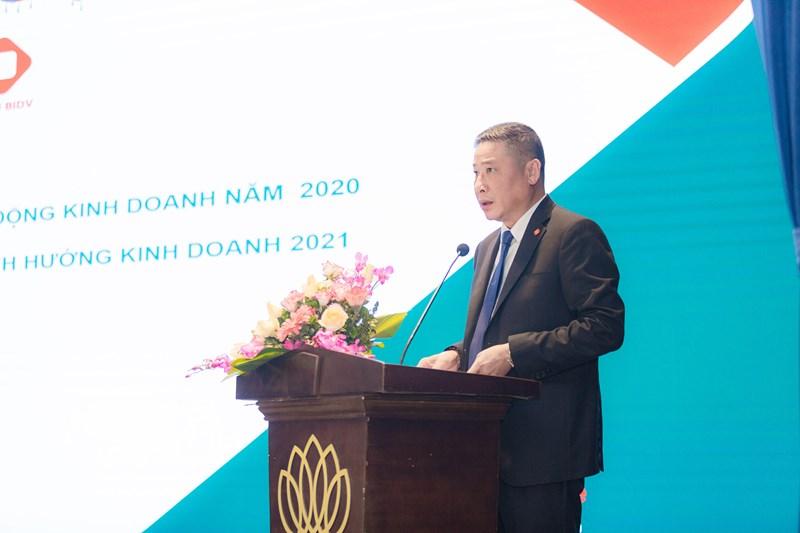 Tổng Giám đốc BIC Trần Hoài An trình bày những kết quả hoạt động năm 2020 và kế hoạch kinh doanh năm 2021 của BIC.