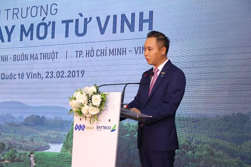 Ông Đặng Tất Thắng, Tổng giám đốc Bamboo Airways phát biểu tại Lễ khai trương đường bay mới từ Vinh.