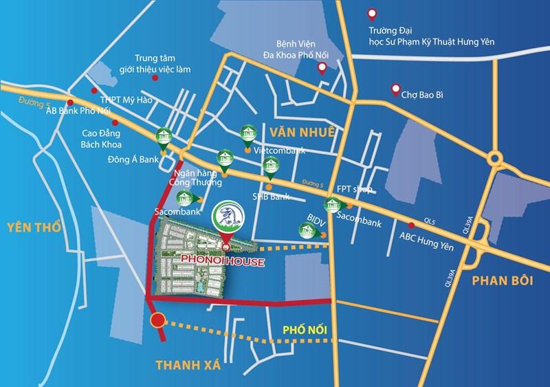Tọa lạc tại huyện Yên Mỹ, Hưng Yên, dự án Phố Nối House được xem là tâm điểm giao thương kinh tế - văn hóa - xã hội của toàn tỉnh.