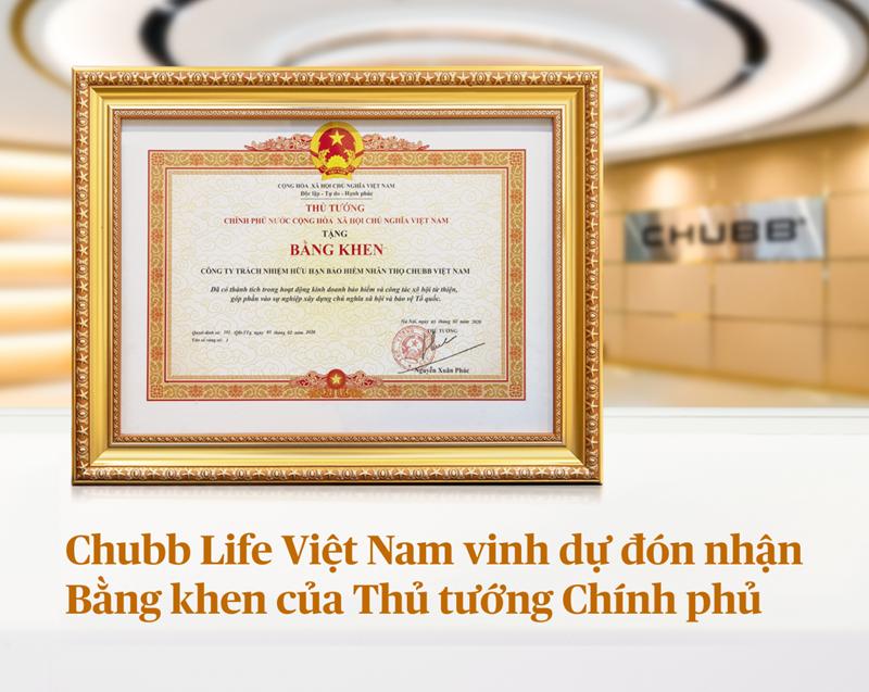 Chubb Life Việt Nam vinh dự đón nhận Bằng khen của Thủ tướng Chính phủ.