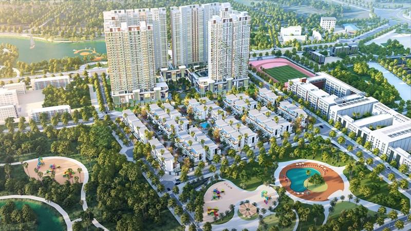 Tổng quan toàn view dự án Khai Sơn Hill thuộc Long Biên.