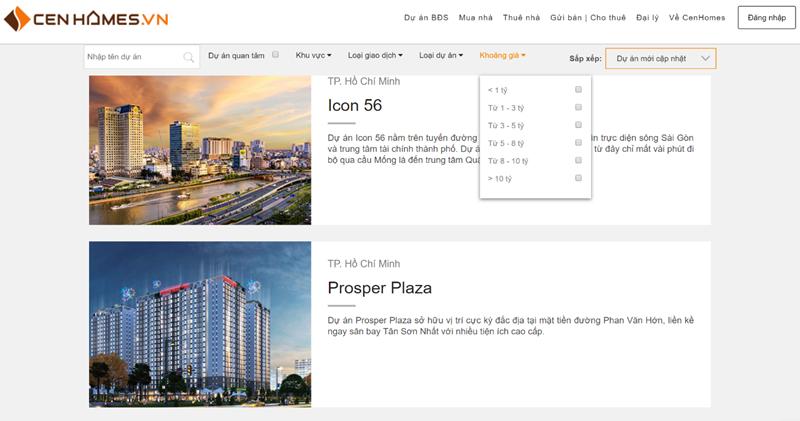Công cụ tìm kiếm dự án của cenhomes.vn