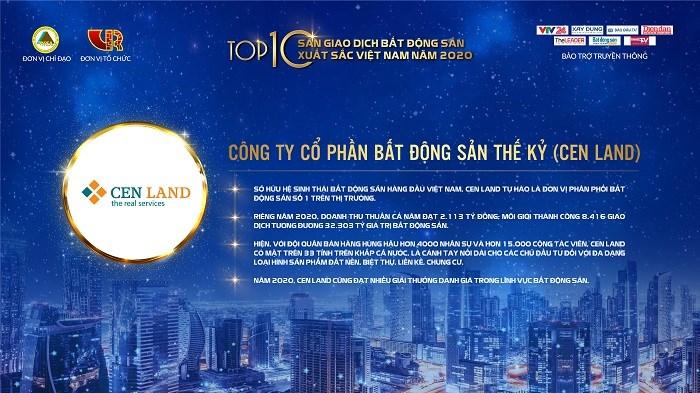Cen Land đạt Top 10 Sàn giao dịch bất động sản xuất sắc nhất năm 2020.