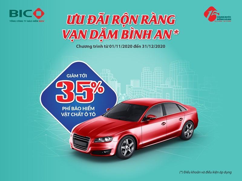 Trong thời gian diễn ra chương trình, khách hàng mua bảo hiểm vật chất ô tô tại BIC sẽ được giảm tới 35% phí bảo hiểm.