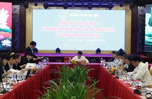 Tổng Giám đốc BHXH Việt Nam Nguyễn Thế Mạnh làm việc với BHXH tỉnh Nghệ An về tình hình thực hiện chính sách BHXH, BHYT (ngày 17/10/2020)