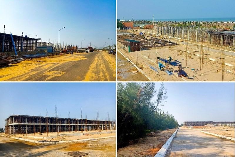 Khu Shopvilla L2 đường Phượng Hoàng đã hoàn thiện phần móng; khu nhà mẫu 2 tầng 2-3 phòng ngủ đang triển khai base đá dăm, chuẩn bị triển khai phần móng.