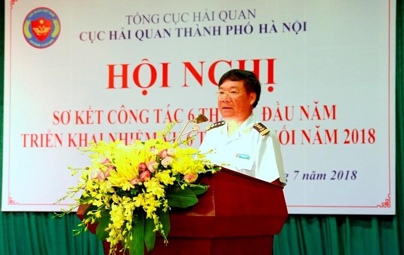 Cục trưởng Cục Hải quan TP. Hà Nội Nguyễn Văn Trường phát biểu tại Hội nghị.