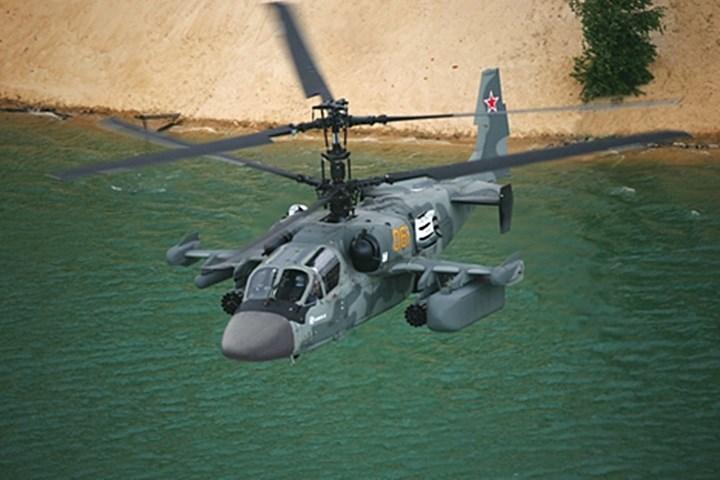 Ka-52 là trực thăng tấn công được trang bị một súng 30mm (với 460 viên đạn), giá phóng rocket 80mm không dẫn đường, bom, và tên lửa không đối không.