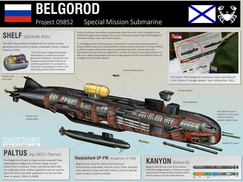 Truyền thông Nga gọi Belgorod là chiếc tàu ngầm hạt nhân phục vụ hoạt động nghiên cứu, chuyên chở thiết bị lặn hoạt động độc lập và không độc lập. Khách hàng đặt mua cỗ máy này là Cơ quan nghiên cứu đáy biển (GUGI) thuộc Bộ Quốc phòng Nga