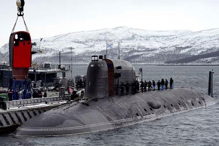 Tàu ngầm hạt nhân Severodvinsk thuộc Hạm đội phương Bắc trong một cuộc tập trận ở biển Barents.