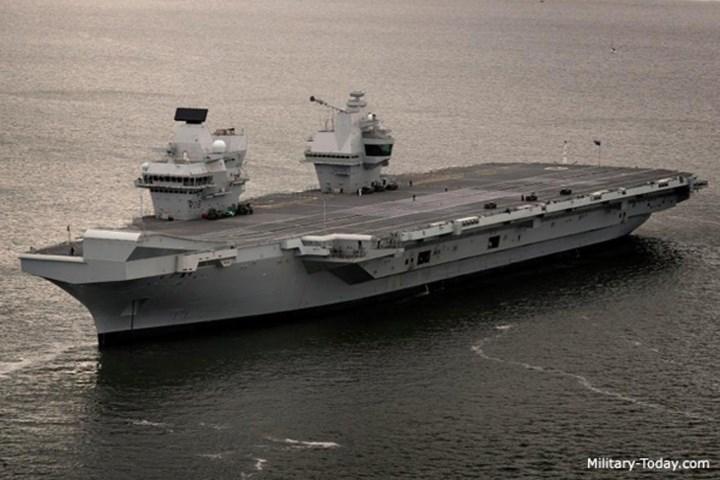 Tàu sân bay Queen Elizabeth có chiều dài 284 m, rộng lớn nhất 73 m, mớn nước 11 m, lượng choán nước toàn tải 70.600 tấn. Ảnh: Military-Today.