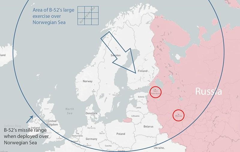 Những mục tiêu nằm trên đất Nga bị B-52 cho vào danh sách tấn công giả định trong các chuyến bay huấn luyện vào ngày 28/3 bao gồm Moskva và St. Saint Petersburg.