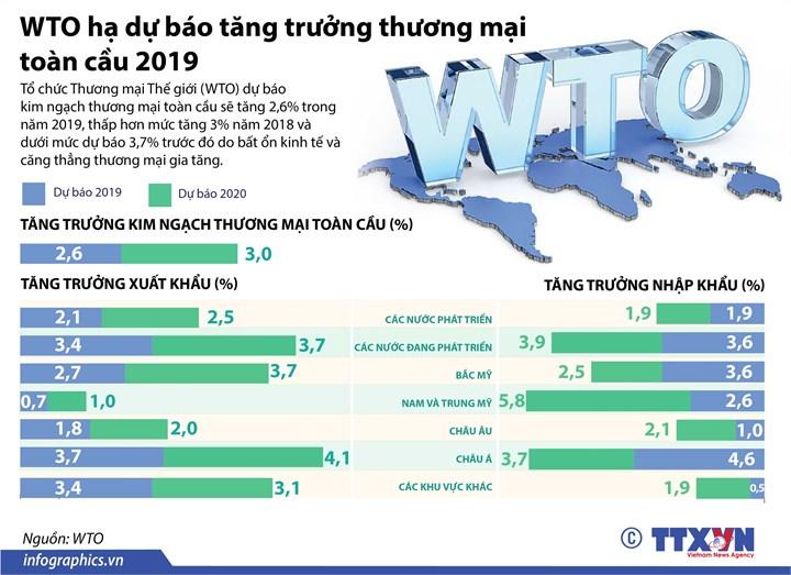 [Infographic] WTO hạ dự báo tăng trưởng thương mại toàn cầu 2019 - Ảnh 1