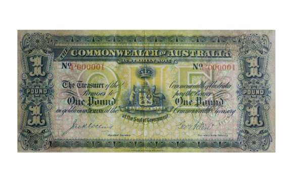 AUSTRALIA 1913 FIRST MODERN 10 SHILLING BANKNOTE: $755,000