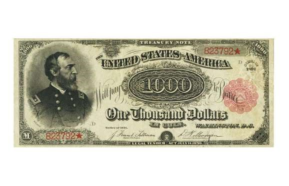 USA 1891 RED SEAL $1,000 TREASURY NOTE – $2.5 MILLION