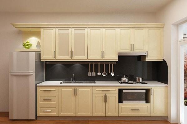 Với thiết kế nhiều ngăn loại tủ bếp dáng chữ I này sẽ chẳng kém cạnh về không gian lưu trữ so với các dạng bếp chữ L.