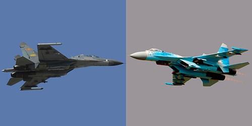 Shenyang J-11 (trái) được Trung Quốc sản xuất trên dây chuyền Su-27 (phải) mua của Liên Xô. Ảnh: Popular Mechanics.