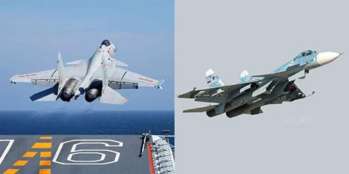 Shenyang J-15 (trái) là bản sao có cải tiến từ tiêm kích hạm Su-33. Ảnh: Popular Mechanics.