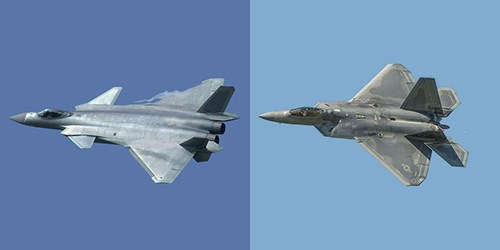 J-20 (trái) được phát triển dựa trên thiết kế F-22 (phải) của Mỹ. Ảnh: Popular Mechanics.