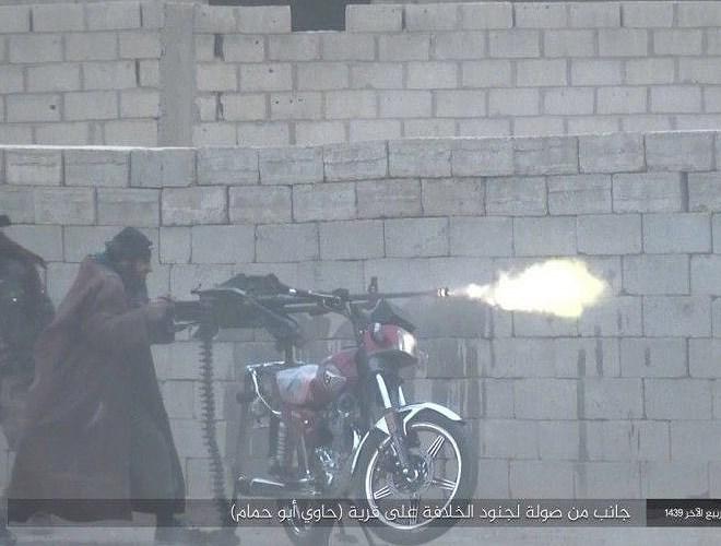Hình ảnh súng W85 được phiến binh tại Syria gắn trên xe máy.